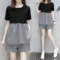 두 조각 드레스 Tileewon 여성 여름 세트 짧은 격자 무늬 색상 캐주얼 티셔츠 + 느슨한 플러스 사이즈 4XL