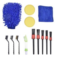Car Sponge Detailing Brush Set Cleaning Brushes For Leather Air Vents Rim Dirt Dust Clean Tools Nonslip Auto Qualified