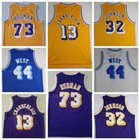 남자 빈티지 농구 wilt chamerlain jersey 13 Dennis Rodman 73 Jerry West 44 Johnson 32 스티치 노란색 흰색 파란색 보라색