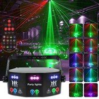 RGB 레이저 조명 15 눈 디스코 램프 DMX 원격 제어 스테이지 스트로브 라이트 AC110-240V LED 할로윈 크리스마스 바 파티 Projetor 홈 장식
