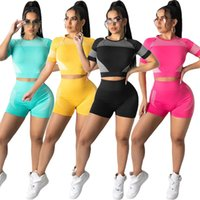 Women tracksuits Two Piece set summer clothing solid color sportswear t-shirt shorts sweatsuit crop top leggings outfits vest pullover bodysuits running plain 1609