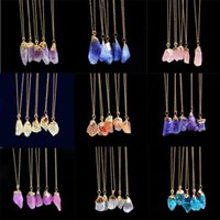 Chains Crystal Necklace 1pc Natural Stone Rock Gold Plated Quartz Pendant Women For Teen Girls