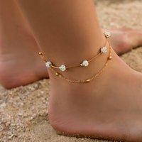 2 teile / satz Fußklets für Frauen Fußzubehör Sommerstrand barfuß Sandalen Armband Knöchel auf dem Bein weiblich