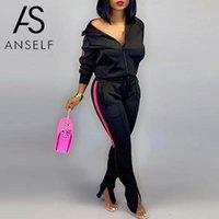 Parça Set Kadın Tulum Bombacı Ceket Pantolon Zip Yukarı Çizgili Yan Yarık Alt Bahar Rahat Ceket Pantolon Kıyafet Kadın Kadın Eşofman