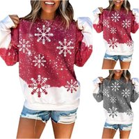 Christmas Sweatshirt Clothes Womens 2021 Winter Sweet Snowflake Printed Pullover Round Neck Women Sweatshirts Women's Hoodies &