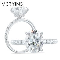 Anéis de cluster antiins 14k branco ouro 3ct corte oval moissanite sob anel de noivado para mulheres presente de casamento