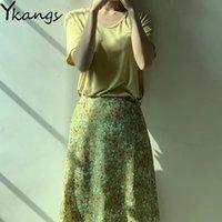 새로운 여름 긴 인쇄 된 여성 하이 웨이스트하라 Juku 치마 한국 스타일 빈티지 작은 깨진 꽃 순수하고 신선한 스커트 210412