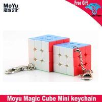 MOYU 3x3 속도 큐브 미니 키 체인 3cm 3.5cm 키 링 매직 큐브 스티커 스티커 프롤러 교육 장난감 쿠코 마술