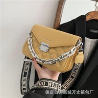 Design s chain women's 2021 spring and summer new candy color three-layer bag Single Shoulder Messenger wide shoulder strap multi-layer