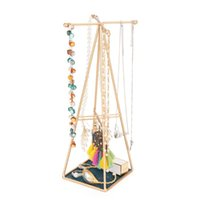 Hooks & Rails Jewelry Stand Holder Necklace Dispaly Rack Earring Organzier Tower With Pyramid Shape Frame For Woman Girl Gift