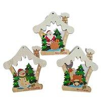 Natale in legno Pendente Pentagramma Casa Auto Forma Xmas Decorazione albero Decorazione Pupazzo di neve Elk Stampato Cartoon Artigianato Artigianato Ornamenti Forniture di festival G71R9UQ