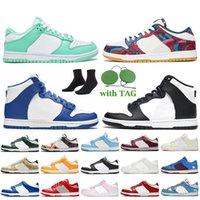 Nike SB Dunk Low High Off White أحذية رياضية للرجال والنساء باللون الأخضر المتوهج من Parra فن تجريدي أسود كنتاكي UNC برتقالي سوبير لوح تزلج أحذية رياضية للركض