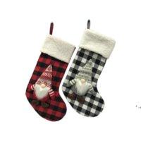 18 polegadas Anjule Vermelho Vermelho Verificação Meias De Natal Meias De Natal Decorações Santa Presente Doces Sacos Novo RRF11098