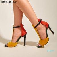 Dress Shoes Termainoov Donne Pompe Fibbia R Tacchi alti aperti Toe Signora Sexy Party Brand Sandali 2272