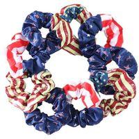 Bağımsızlık Günü ABD Bayrağı Baskı Saç Scrunchies Elastik Geniş Saç Bantları Daire Halatlar At Kuyruğu Tutucu Scrunchy Kafa Sarar Bilezik Bileklik G58SK8O