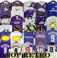 1998 1999 Fiorentina Retro Futbol Formaları 9 Batistuta 10 Rui Kosta Özel Vintage 89 90 91 92 93 94 95 96 97 00 Floransa Ev Futbol Gömlek Camisas de Futebol