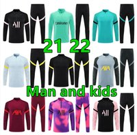 21 22 Hombres y niños Kit de fútbol Jerseys Jerseys Training Pants Chaqueta Chandal Futbol Survetement Foot Maillot de Retro Reproductor Versión