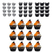 Other Festive & Party Supplies 12PCS Halloween Decoration Cupcake Wrapper Cup Muffins Horror Pumpkin Witch Bat Cake Toppers For Home Decor