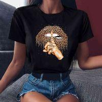 Zogankin - women's lip leopard T-shirt, crew neck top, black T-shirt, leopard lip funny T-shirt