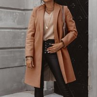 Women's Wool & Blends Jacket Autumn Long Coat Down Collar Jackets Solid Casual Lady Slim Outerwear Clothes