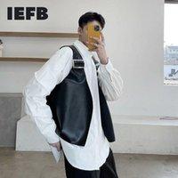 Erkek Giyim 2021 Bahar Niş Tasarım PU Deri Siyah Yelek Japonya Kore Gelgit Nedensel Kolsuz Serin Yelek Erkek 9Y5430 Yelekler