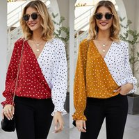 Women's Blouses & Shirts 2021 Women Office Lady Patchwork Dot Print Blouse Tops Casual Long Sleeve Polka Shirt And V Neck Slim