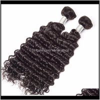 Wefts Products Drop Delivery 2021 Brazilian Virgin Deep Wave Bundles 6X6 Lace 4 Pieces Lot Human Hair Extensions With 6*6 Closure Middle Thre