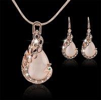 Frauen Damen Peacock Kristall Strass Anhänger Halskette Tropfen Ohrring Set Mode Waterdrop Schmuck Set Geschenk für Liebe 314 J2