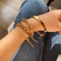 Luxury Designer Bangle Punk Hip-hop Charm Bracelet Three Chain Women Multi-element Geometric Cuban Bracelets Set