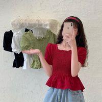 Women's T-Shirt Summer Small Fresh Puff Sleeve Waist French Girl With Wooden Ears Hem Square Collar Shirred Short Crop Tops Women T Shirt