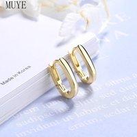 Hoop & Huggie MUYE Real 925 Sterling Silver Earrings Ear Buckle For Women's OL Fashion Jewelry Party Gift