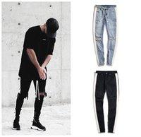 Jeans pour hommes Stripe Stripe Stripe Certe-Zip Certurant Stretir Trou brisé Black Blue Hip Hop Sportswear Taille élastique Joggers Pantalon Fashion Streetwear Pantalons