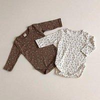 Faceyousous Newborn младенческая девочка мальчик вязаный ребристый боди с длинным рукавом флористический комбинезон осень детская одежда 210413
