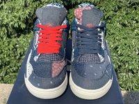 Kutu çorap se sashiko jumpman ile indirim 4 erkek basketbol ayakkabı moda derin okyanus yelken çimento gri ateş kırmızı erkek air jordan 4 spor ayakkabı US7-13