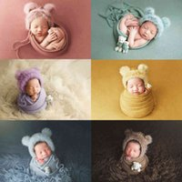 3pcs set Newborn Infant Photography Wraps Knitted Baby Boys Girls Photo Props Faux Fur Hat Strong Stretch Blanket Bear Doll 0724
