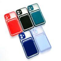 카드 홀더 슬롯 반투명 울트라 슬림 부드러운 소프트 폰 케이스 아이폰 12 미니 11 프로 최대 XR XS x 8 7 6 Plus