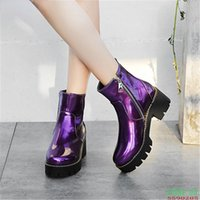 Boots Women Laser Shining Patent Leather Ankle Street Riding Chunky Heels Platform Short Plush Lining Winter Booties Young Shoes