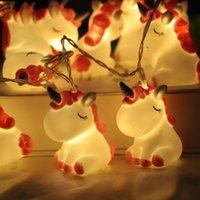 LED 문자열 핑크 유니콘 어린이 방 귀여운 동물 휴가 조명 어린이 선물 침실 장식 야간 램프 크리스마스