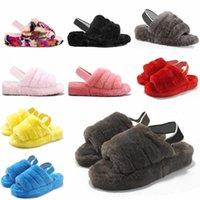 2021 Mujeres peludas zapatillas Fluff Slides Sandalia Australia Fuzzy Soft Hous Soft Ladies Zapatos para mujer Piel Mullido Sandalias Hombre Invierno Slipp # 5987