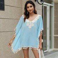 Feitong Elegant Blouse Women Shirts Pom Trim Kaftan Chiffon Tassels Swimwear Beach Loose Bikini Cover Up Ladies Blouses Women's &