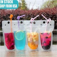 24H Ship 100pcs Clear Drink Pouches Bags frosted Zipper Stand-up Plastic Drinking Bag with straw with holder Reclosable Heat-Proof gjgf