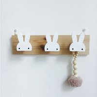 Kids Room Decorative Wooden Hooks White Bunny Swan Natural Wood For Baby Bory Girl Nursery Storage