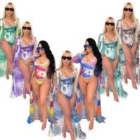 4XL Sommer Frauen Casual Kleider Einteiliges Badeanzug Bikini + Mantel Zwei Teile Set Mode Swimwear Dame Drei Teiler Anzug Bikini Sexy Mädchen Badeanzug Täusche