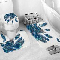 Bath Mats 2021 3pcs Carpet Set Bathroom 3D Printing Non-Slip Mat Kitchen Doormats Decor Toilet Seat Tank Cover Rug