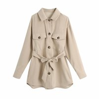 PUWD Casual Woman Beige Loose Sashes Woven Shirts Spring Fashion Ladies Pocket Streetwear Blouse Female Cool Oversized Tops 210524