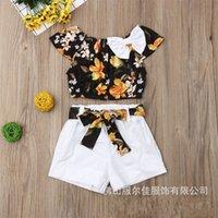 Moda recién nacido bebé niño muchacha ropa verano flotador superior t-shirt sólido pantalón corto pantalón 2pcs trajes conjunto de ropa para 1-5 años 1427 y2