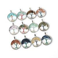 Crystal Agate Macadam подвески ожерелья содержат дерево жизни аметистовый кожаный веревка круглая кулон ожерелье мода ювелирные изделия 6 8ks B3