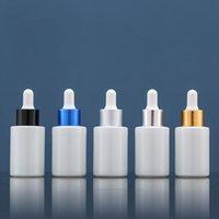 1000 adet / grup, 30 ml beyaz uçucu yağ şişesi plastik kafa cam damlalık çember ile beş renk