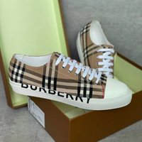 2021 Mens Vintage Controllare le scarpe da ginnastica in pelle Donne Designer Scarpe Logo Stampa Cotton Sneaker Gomma Bottom Lattice Trainer Scarpe casual all'aperto con scatola NO288