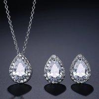أنيقة الزركون قطرة الماء أقراط قلادة مجوهرات الزفاف مجموعة أعلى جودة قلادة مكعب وأقراط مجوهرات مجموعة للنساء بنات 912 Q2